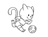 Football cat player coloring page