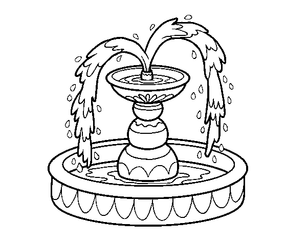 Fountain Coloring Page Coloringcrew Com