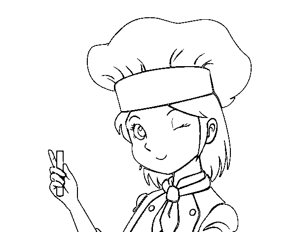 Girl-chef coloring page