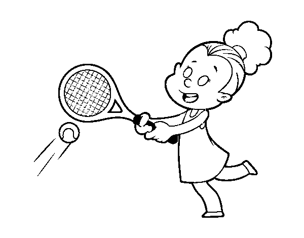Girl playing tennis coloring page
