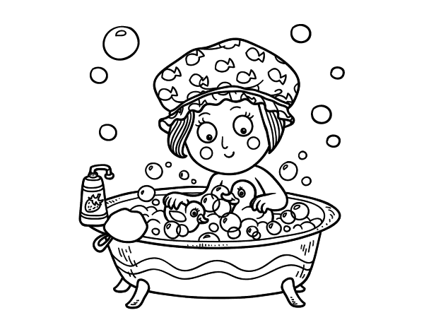 Girl taking a bath coloring page - Coloringcrew.com