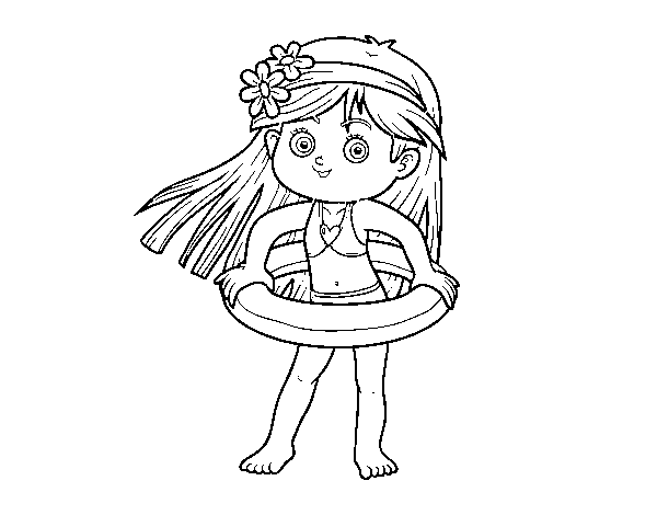 Girl with float coloring page