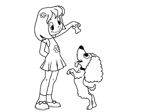 Girl with puppy coloring page