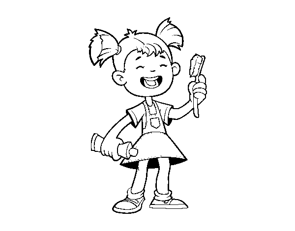 Girl with toothbrush coloring page