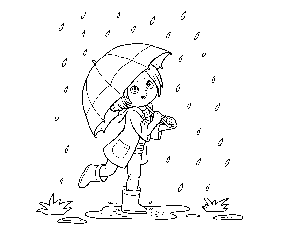 Girl with umbrella in the rain coloring page