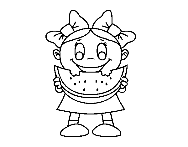 Girl with watermelon coloring page