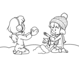Girls playing with snow coloring page