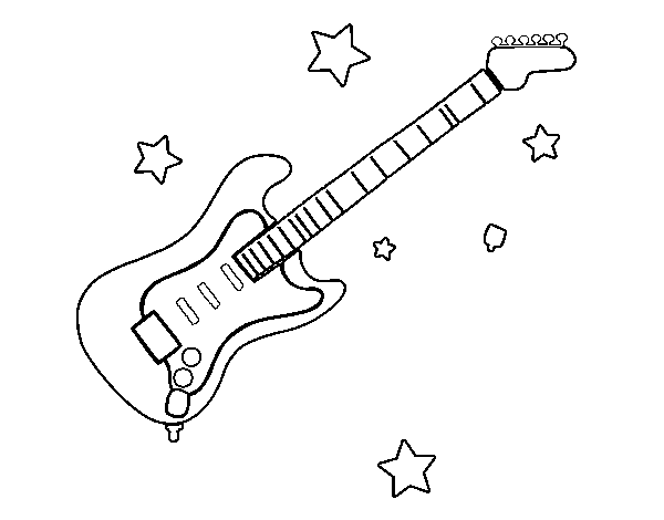 Guitar And Stars Coloring Page