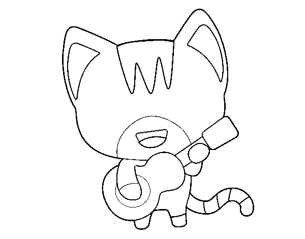 Guitarist cat coloring page