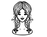 hairstyle: two braids  coloring page