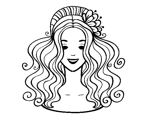 Hairstyle with flower coloring page