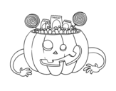 Halloween pumpkin sweets coloring page