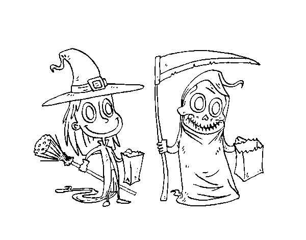 Halloween Trick-or-treating coloring page