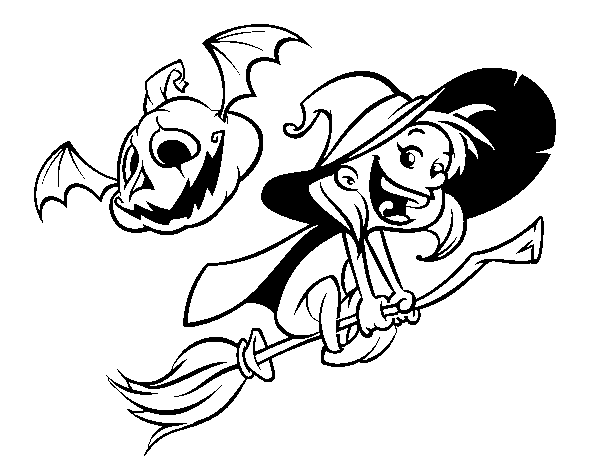 Halloween witch and pumpkin  coloring page
