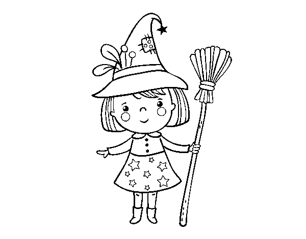 Halloween witch girl coloring page