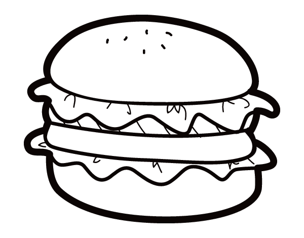 Hamburger with lettuce coloring page - Coloringcrew.com