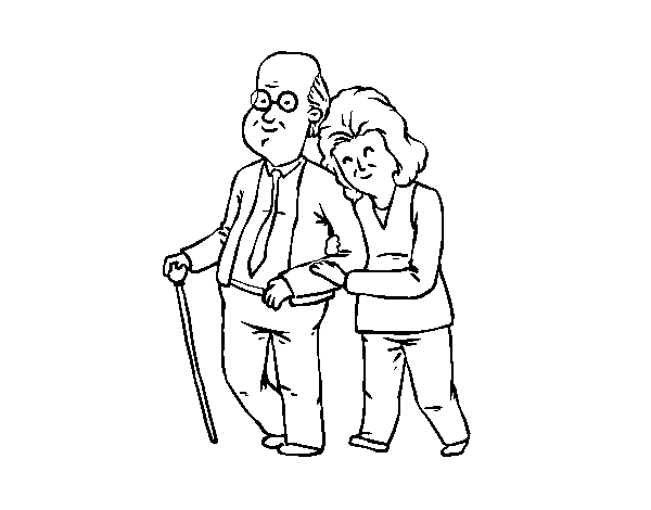 Happy grandparents coloring page