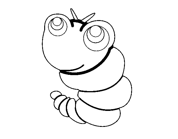 Happy Worm coloring page