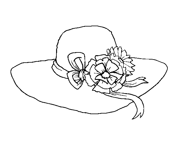 Hat with flowers coloring page