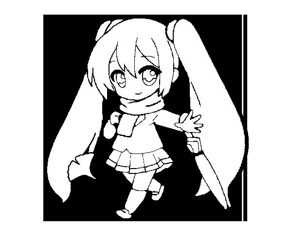 Chibi Miku Cute Chibi Coloring Pages Anime Coloring4freecom Hatsune