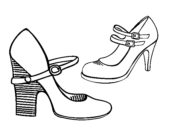 Heel shoes coloring page