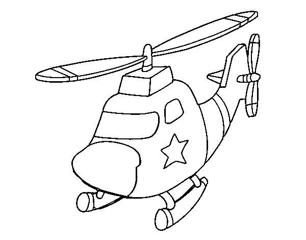 Helicopter with a star coloring page