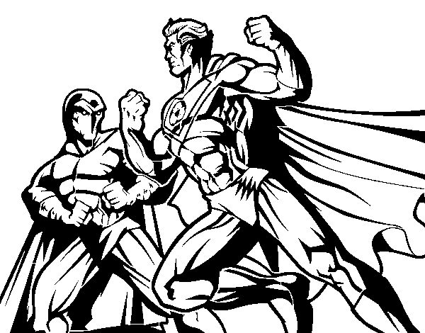 Hero and villain fighting coloring page