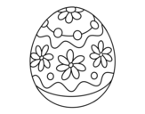 Homemade easter egg with flowers coloring page
