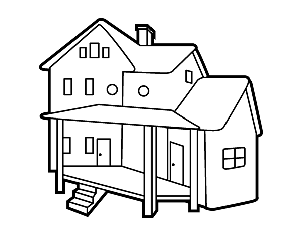 House with porch coloring page - Coloringcrew.com