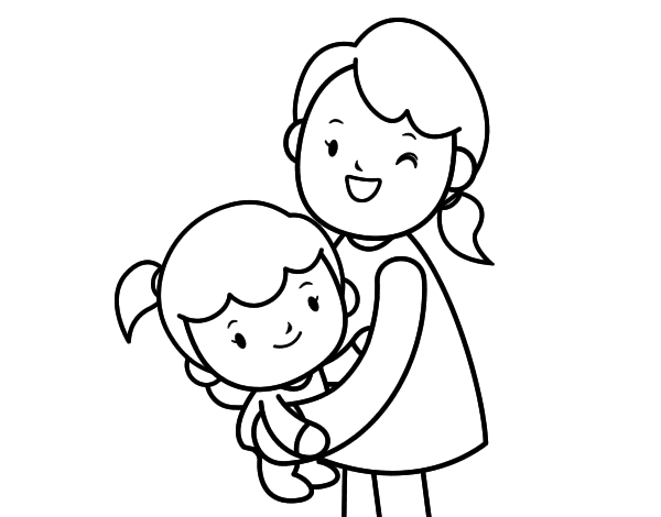 Hug with mom coloring page - Coloringcrew.com