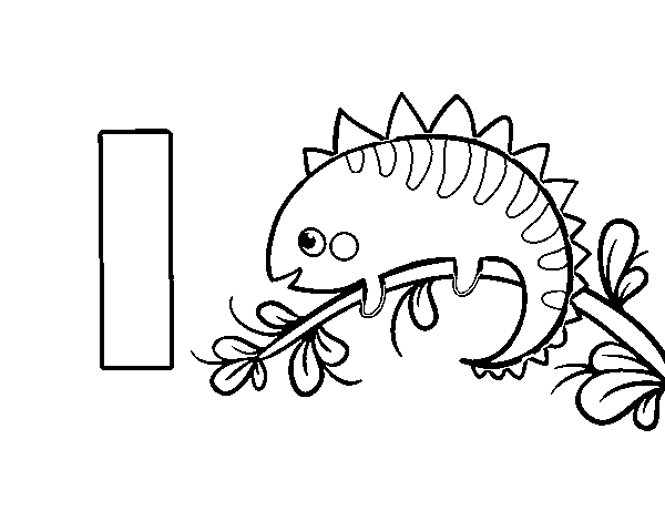I of Iguana coloring page