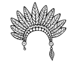 Indian feather crown head coloring page