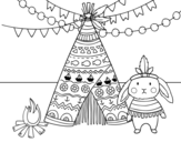 Indian rabbit coloring page