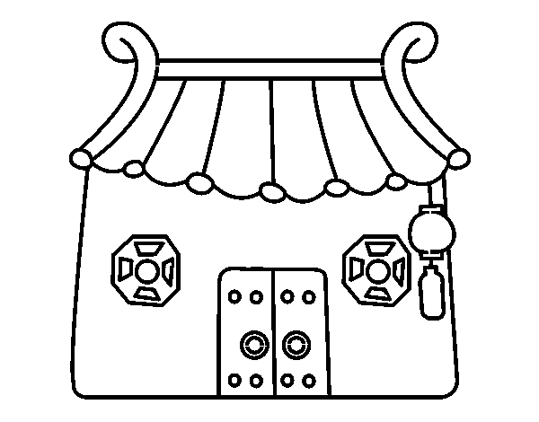 Japanese cottage coloring page