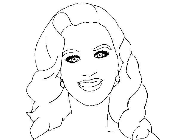 Katy Perry foreground coloring page