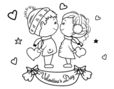 Kids valentine coloring page