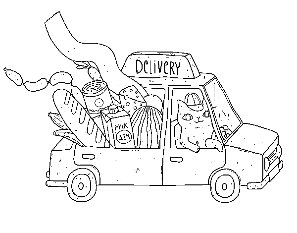 Kitten delivery coloring page