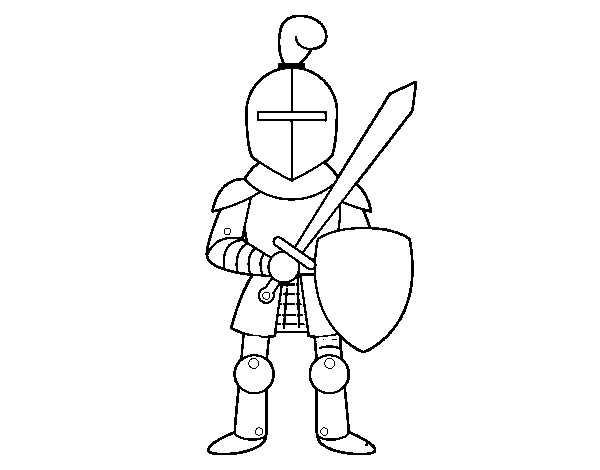 Knight with sword and shield coloring page - Coloringcrew.com