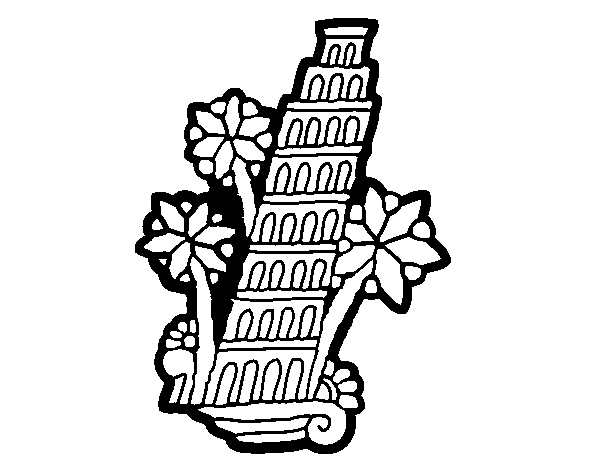 Leaning Tower of Pisa coloring page