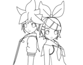 Len and Rin Kagamine Vocaloid coloring page