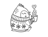 Little bird having a tea coloring page