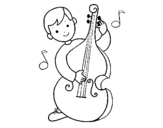 Little boy with Cello coloring page