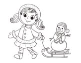Little girl with sleigh and snowman coloring page