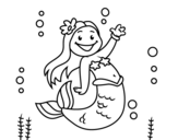 Dibujo de Little mermaid waving