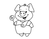 Little pig with lollipop coloring page