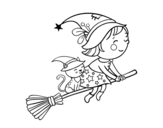 Little witch flying with her broom coloring page