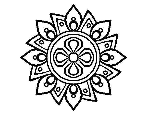 Mandala Simple Flower Coloring Page