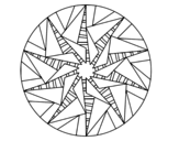 Mandala triangular sun coloring page
