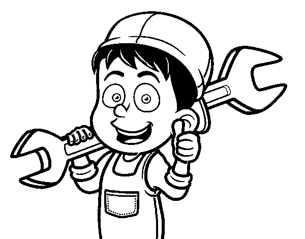 Mechanic coloring page