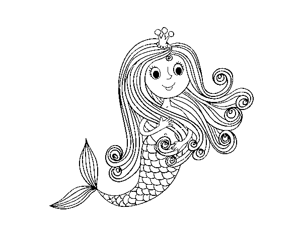 Mermaid Princess Coloring Page Coloringcrew Com